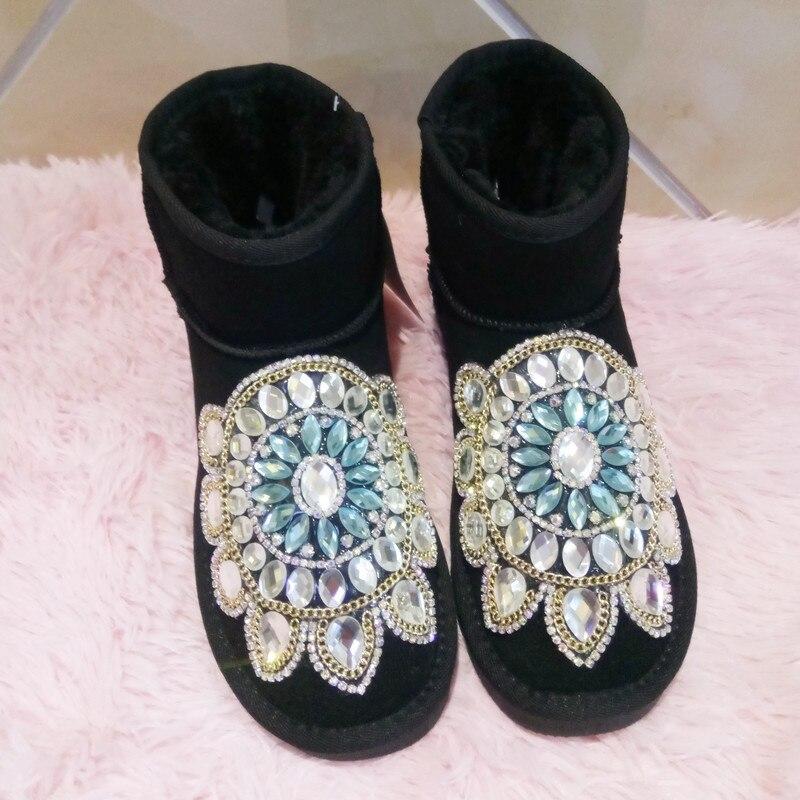 Australie Tube Coton Femmes En Noir rose Strass Épais Neige Bottes Anti Chaussures dérapage Cuir D'hiver À La Étudiants Main 5854 ara6q8