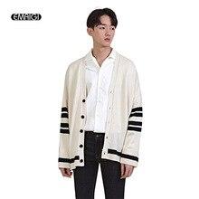 Men New Loose Sweater Cardigan Coat Knitwear Male Long Sleeve Stripe Knitted Sweater Jacket Overcoat