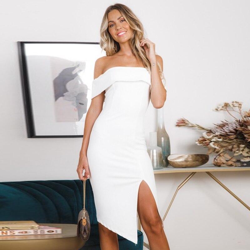 Для женщин Мода бинты Bodycon Вечеринка Клубная одежда платье черный, белый цвет костюм летние пикантные платья с открытыми плечами