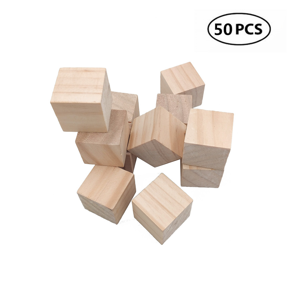Us 178 43 Off50pcs 10mm 04inch Wood Blocks Square Wooden Unfinished Craft Cubes Diy Baby Showerstamp Block In Wood Diy Crafts From Home Garden