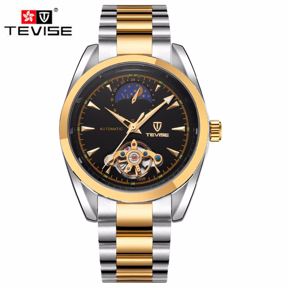 ФОТО Tevise Luxury Watches Men Full Stainless Stell Moonpahse Flywheel Automatic Mechanical Watch Wristwatch Xmas Gift Box Free Ship