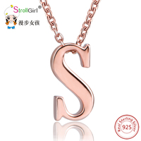 Stroll Girl Gold Color Letter Necklaces S Pendant For Women Men Gift Jewelry Rose Gold Color