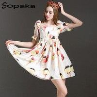SOPAKA High Quality Short Sleeve Cute A Line Flower Ice Cream Printed Runway Designer Midi Women