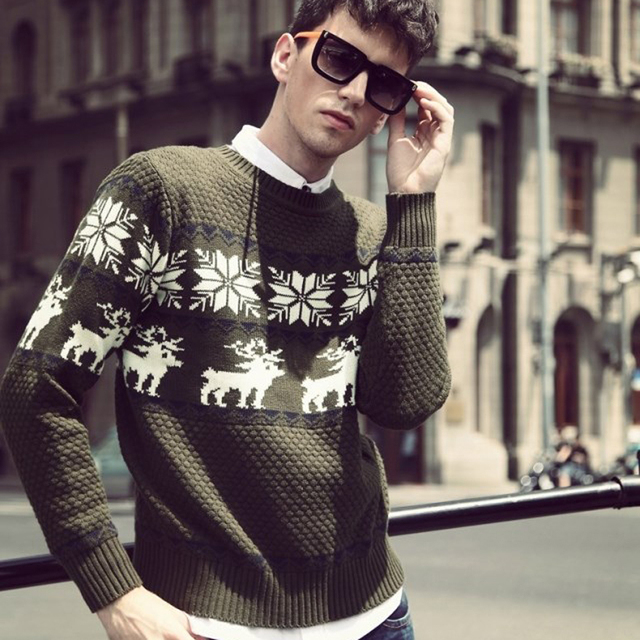 Winter Ugly Christmas Sweater For Men Snow Deer Pattern Knitwear