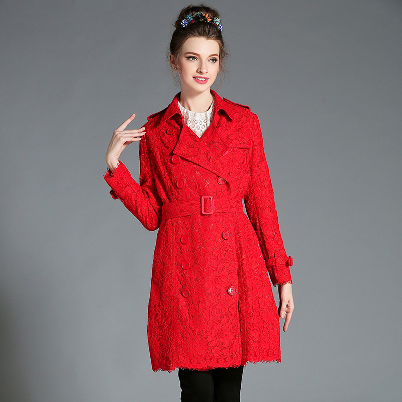L- 5XL High Quality 2017 Autumn Fashion Women Long Sleeve Turn-down Collar Plus Size Double Breasted Long Lace Trench Coat