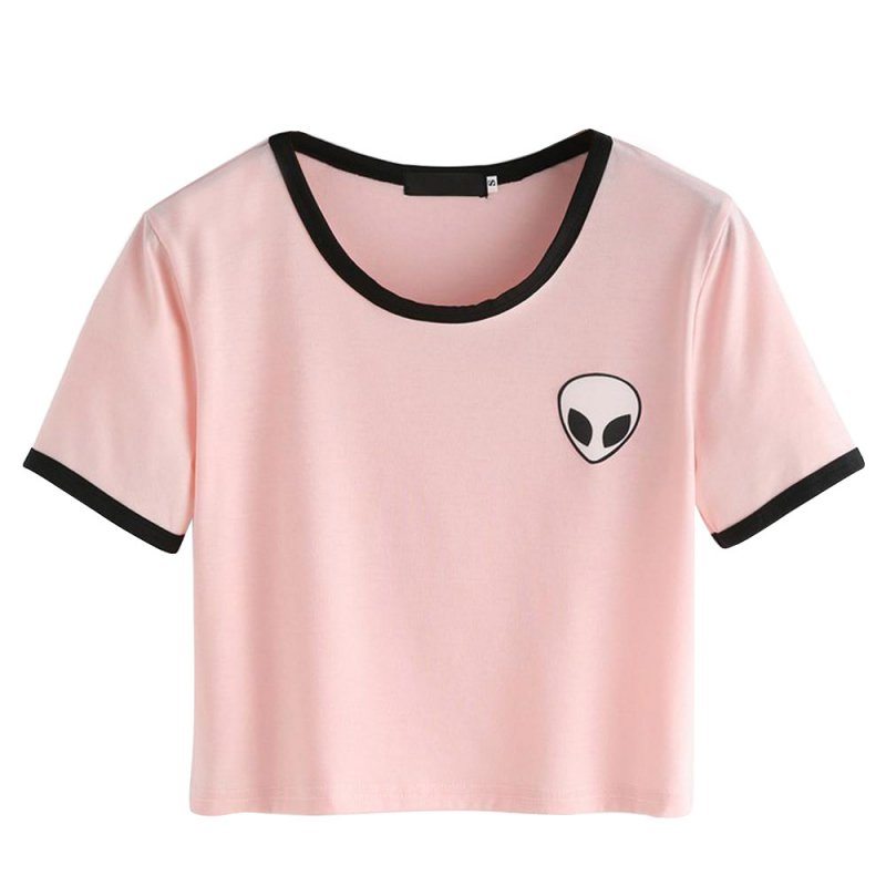 Women Young Girl Summer Short Sleeve T-Shirts Casual Crop Top Alien Printing Tee Shirt Femme