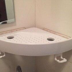 New Snap Up Corner Shelf Bathroom Wall Corner Mount Storage Holder Rack Non-marking Shelf With Hooks Easy To Install