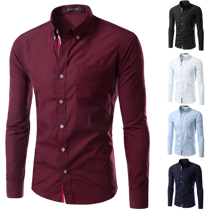 New Arrival  With Tracking Number Men's Shirts Slim Fit Stylish Dress 2015 Long Sleeve Shirts Size M-XXXL 9007