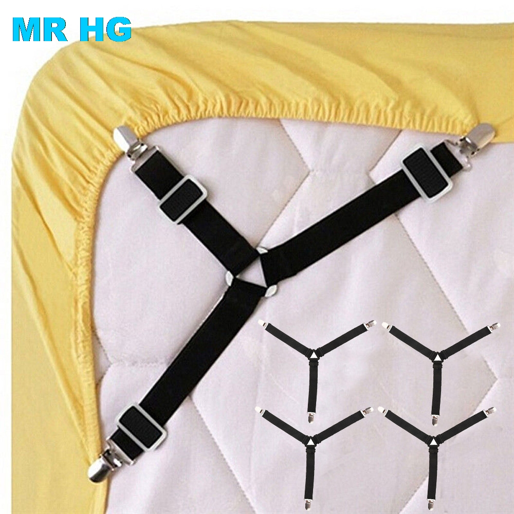 4Pcs/lot Bed Sheet Buckle Keep Sheet In Place Bedspread Fastener Adjustable Elastic Belt for Mattress Blankets Metal Clips image
