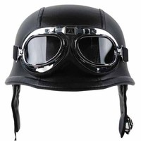 WWII German Style Vintage Motorcycle Helmet With Goggles Black Leather Sponge Half Helmet Goggles For Harley
