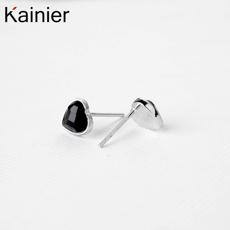 925 Sterling Silver L Ocean Heart Stud Earrings Women Black Cz Stone Ceremony Jewelry In From