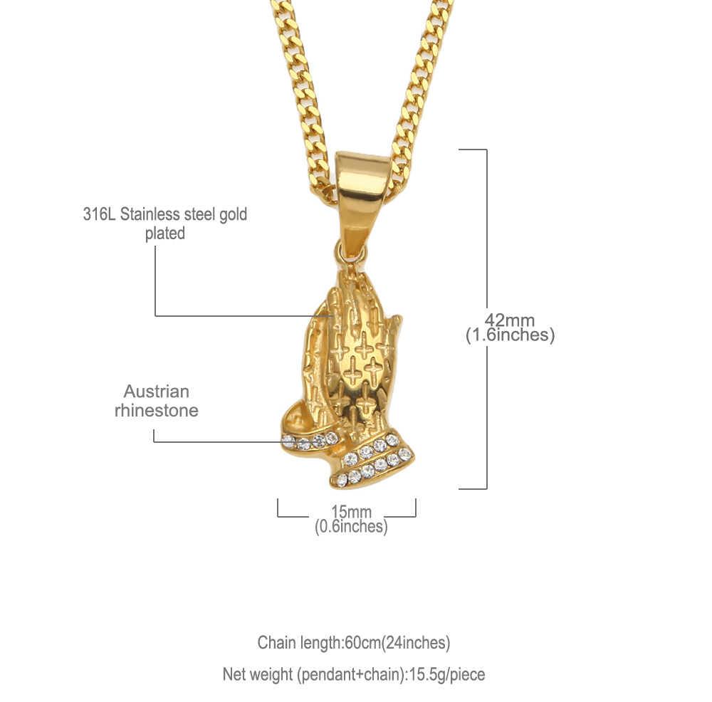 Uwin Fashion 2 Sizes Hiphop Necklace Prayer Hand Praying Hands Cross Pattern Pendants Stainless Steel Bling Rhinestone Jewelry