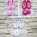 3 Colores Dulce Rosa Floral de La Princesa Zapatos de Bebé Suaves y Diamond Flower Headband Set Baby Girl Primer Caminante Zapatilla Bailarina