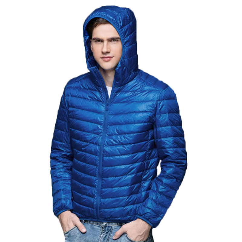 90% Duck Wadded Men Down Jacket Winter Warm Stand Collar Hooded Ultralight Down Coat Male Puffer Hat Ultra Light Jackets Brands