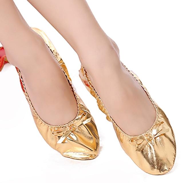 MMX10 PU למעלה זהב רך הודי נשים של בטן ריקוד ריקוד נעלי בלט נעלי עור בטן ריקוד בלט נעלי ילדים עבור בנות נשים