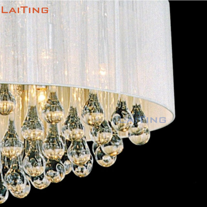Flash Deal Laiting Lighting Dia 55cm American Rustic Round Crystal Chandelier Modern White Fabric Pendant Lamp for Dining Room August 2020
