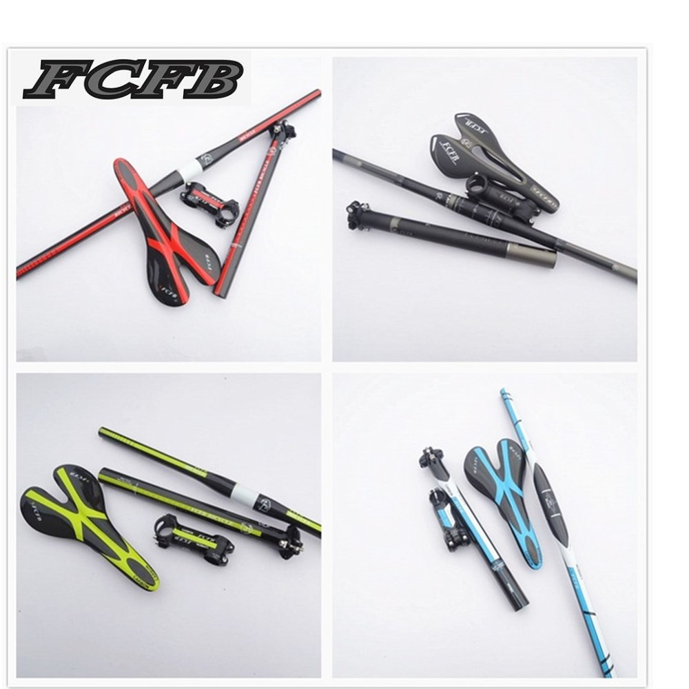 fast ship 2016 new FCFB FW carbon mountain bike carbon handlebar set = Stem +seatpost+ handlebar +seat saddle =perfect!!! sales 2015 new fcfb fw carbon handlebar black grey kit mtb mountain rise handlebar alu carbon stem seatpost road bike