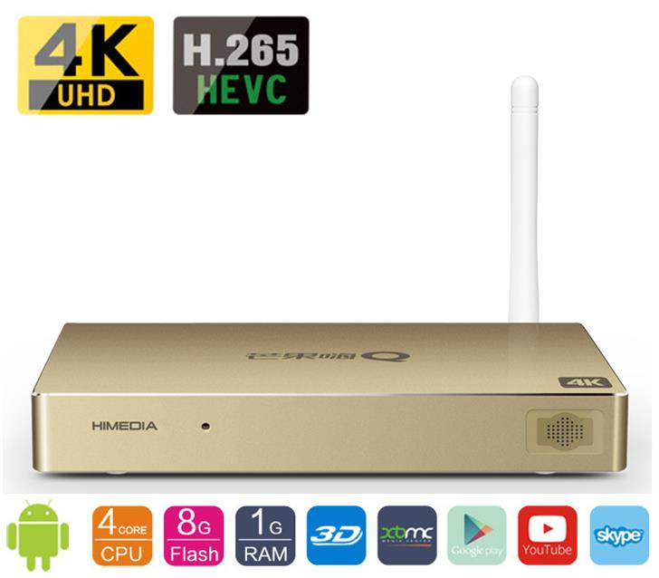 HiMedia H7 II Smart Android TV Box, Really 4K Quad Core Chips Network Media Player, 1GB RAM 8GB ROM, KODI, Google play, Youtube smart android 4 2 tv box quad core network media player 8gb ram 2gb ddr3 with wifi support google tv dlan miracast