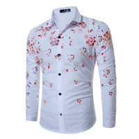 Camisas Hombre Vestir New Autumn Fashion Brand Men Clothes Slim Fit Men Long Sleeve Shirt Men Printing Casual Men Shirt Social
