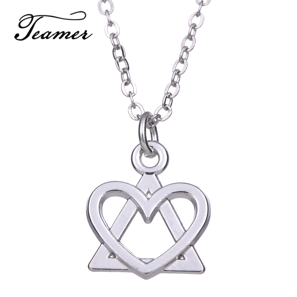 Teamer Cute Heart Pendant Triangle Necklace Silver Color Jewelry Gifts For Girlfriend Simple Bijoux Adjustable Ah105222 Pendant Necklaces Aliexpress
