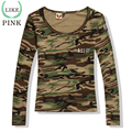 LIKEPINK 2017 Spring Women Tops Letter US Army T Shirt Camouflage Military Tee Shirt Femme Long Sleeve Camisetas Mujer S~2XL