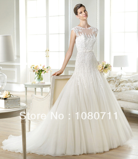 Wedding Dress Lace Up Kit : Elegant sheer illusion neckline lace applique a line