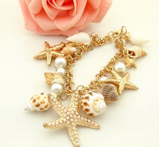Women Fashion Ocean Style Multi Starfish Sea Star Conch Shell Simulated-Pearl Chain Beach Bracelets & Bangles Novelty Jewelry