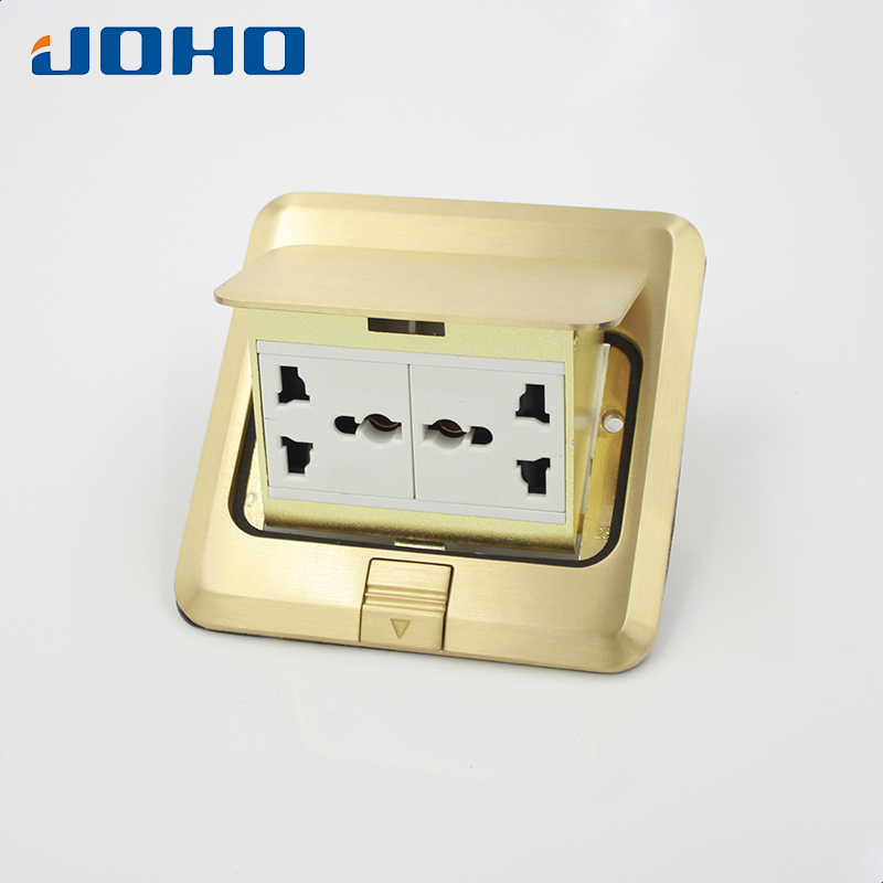 Brass Fast Pop Up Floor Socket Outlet Box with Double Universal sockets 250V 10A brass fast pop up floor socket outlet box with 15a us socket and rj11 data