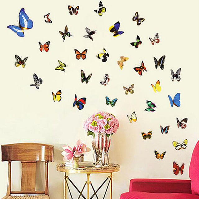 Aliexpress buy 2017 new 80pcsset butterfly wall stickers 2017 new 80pcsset butterfly wall stickers window decals vinyl pvc kids rooms home decoration junglespirit Choice Image
