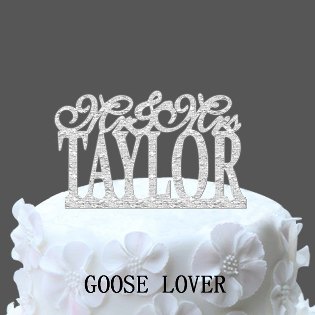 Personalized Last Name Weddings Cake Toppers Monogram Stand MrMrs Decoration