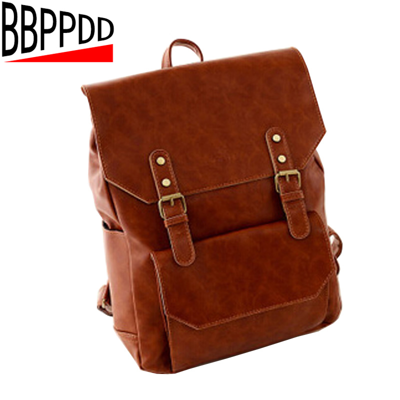 2018 Women PU leather backpack High Quality belt buckle School Bag Travel Bags Womens Ca ...