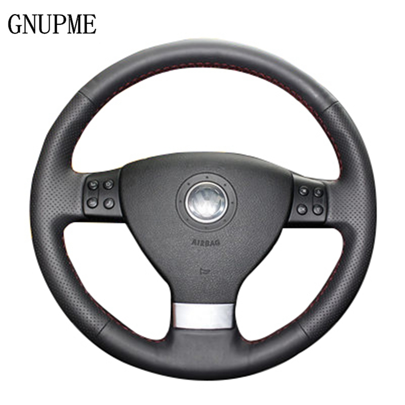GNUPME Genuine Leather Hand-Stitched Black Car Steering Wheel Cover for Volkswagen Passat B6 Golf 5 Mk5 VW Jetta 5 Mk5 Tiguan бисер preciosa 5 г 544203 2231