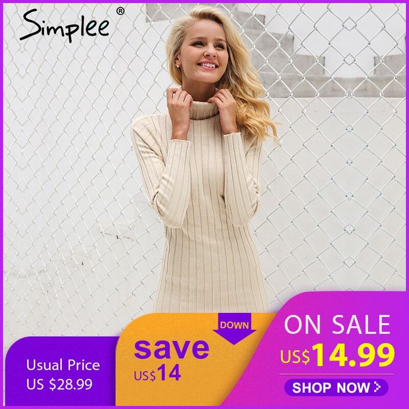 Simplee повседневное водолазка длинный трикотажный свитер платье для женщин Хлопок Тонкий bodycon пуловер женский Осень Зима 2018