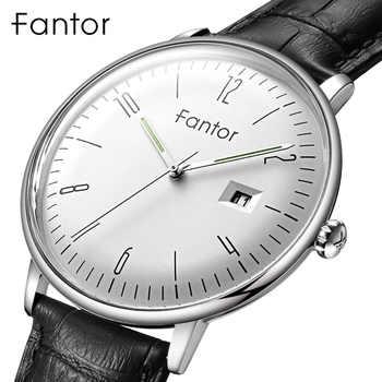 Fantor marque hommes daffaires montre-bracelet en cuir Date lumineuse montre homme à la main homme en poignet montres à Quartz pour les hommes