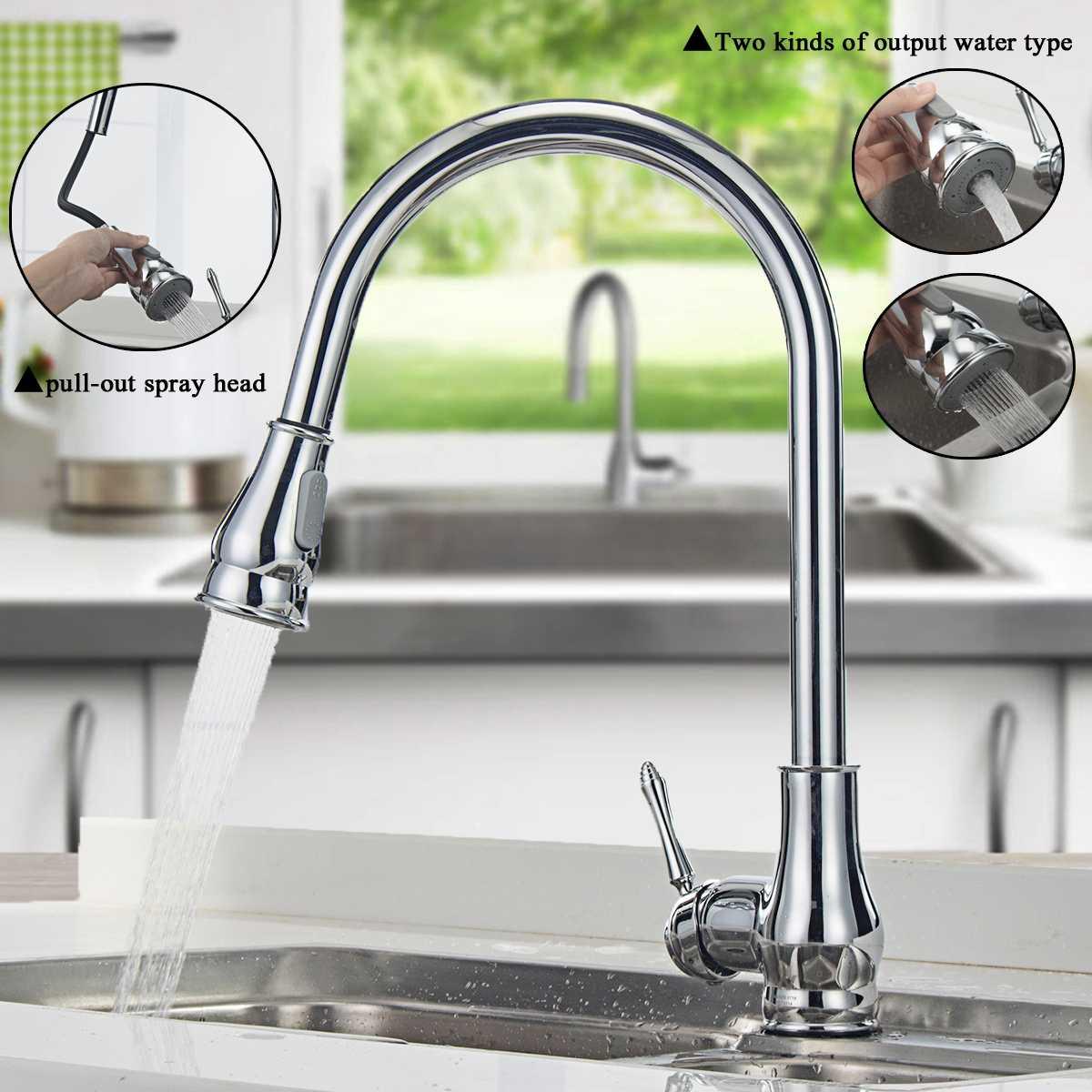 360 Rotation retirer cuisine chaud et froid mélangeur grue robinet d'eau Rotation pulvérisation Chrome brosse mitigeur robinets de bassin