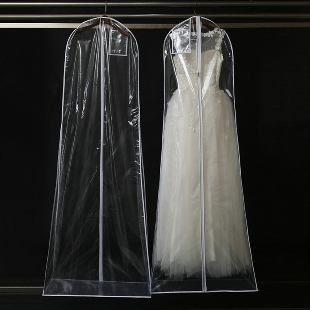 Transparent/White Large Garment Bridal Gown Long Clothes Protector Case Wedding Dress Cover Dustproof Covers Storage Bag