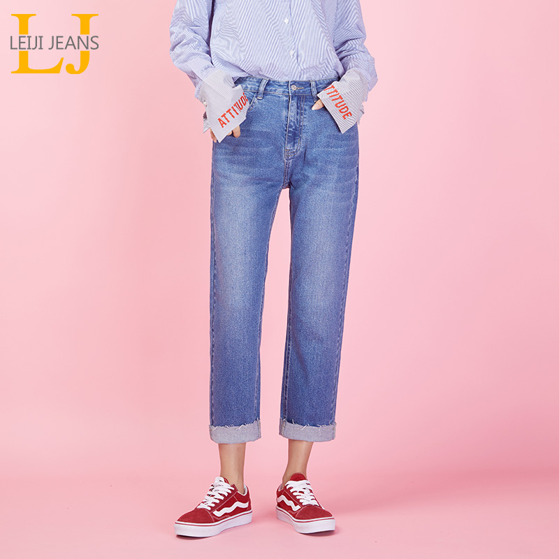 LEIJIJEANS New Arrival spring Casual Style Plus Size L-6XL mid Waist Light blue with white Ankle length   jeans   for women 9042