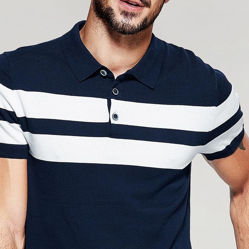 KUEGOU Novo ljeto Muške pletene polo majice 100% pamučna prugasta - Muška odjeća - Foto 5