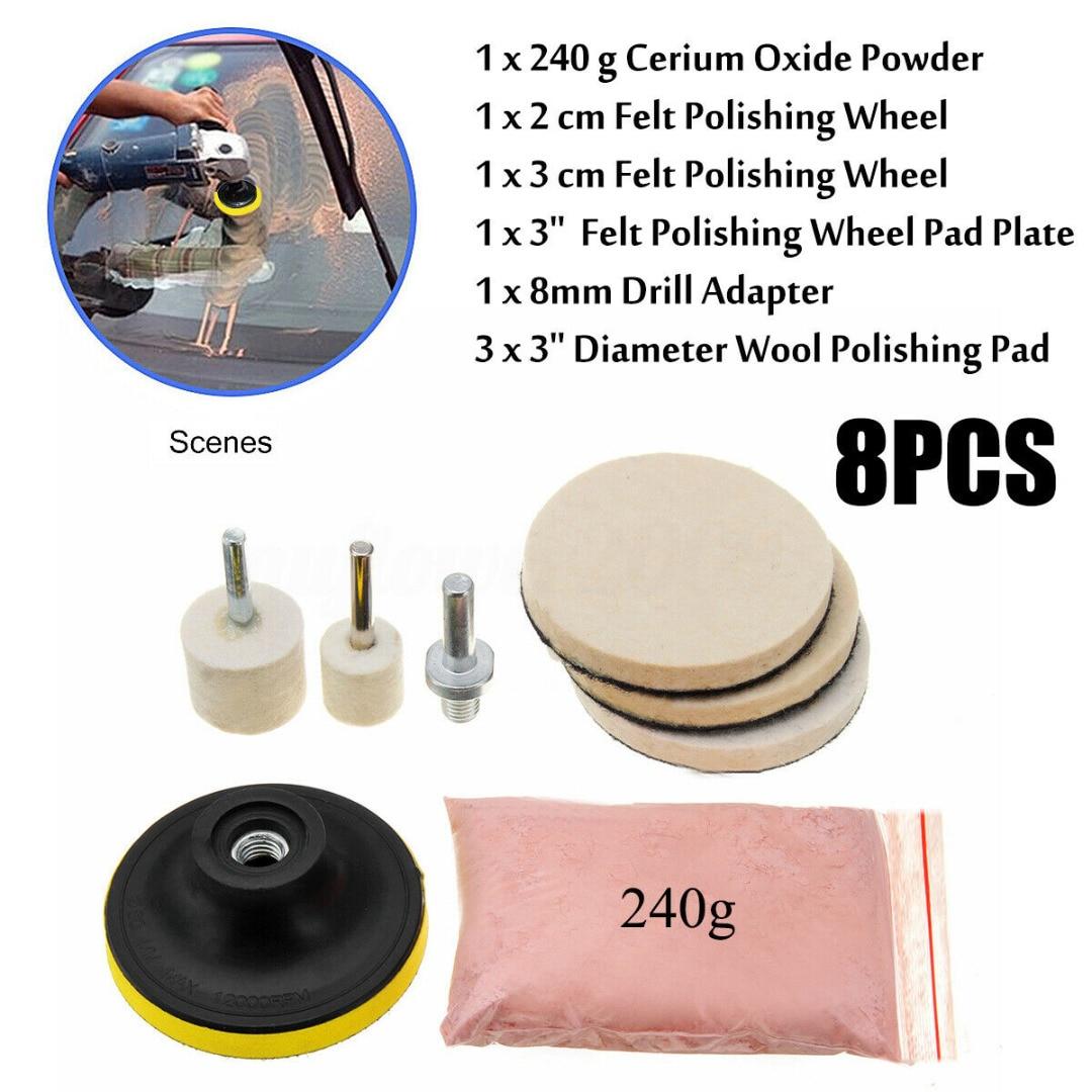 8pcs Glass Plolishing Tool 70g Cerium Oxide Polishing Powder and Polishing Wheel