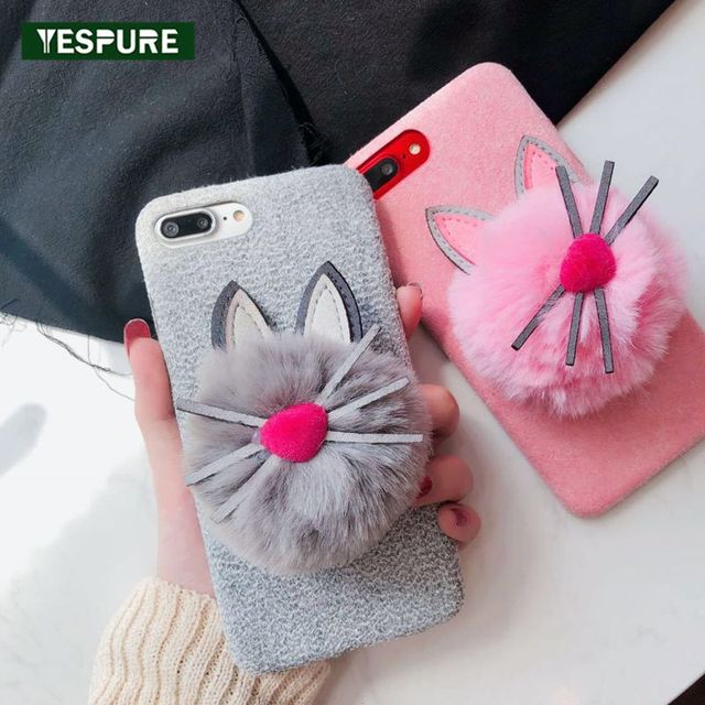 d156720756 YESPURE Girls Fancy Cover Lovely Fur Ball Animal Cat Phone Case for Apple IPhone  8 Plus 6s 6plus 7 Plus Phone Accessories Mobile