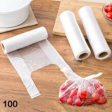 100 шт/рулон еды сумка для хранения на кухне пластиковый мешок Органайзер PE Сумки сарановая упаковка для пищевых продуктов свежая Экономия Сумка для хранения