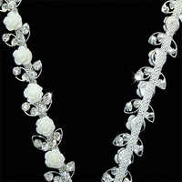 10 yardas Rosa flor encantador diamantes de imitación cadena cristal Strass 3,3 cm coser en diamantes de imitación