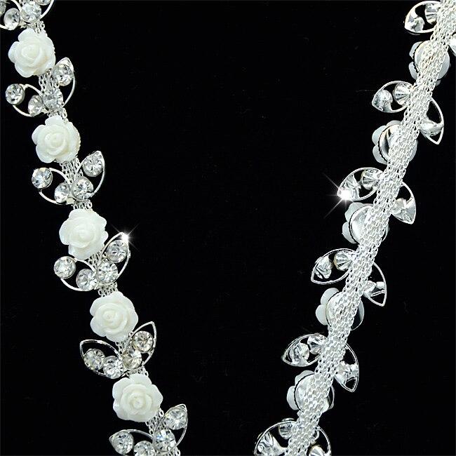 100Yards Rose Flower Lovely Rhinestones Trims Chain Crystal Glass Strass 3.3cm Sew On Rhinestone