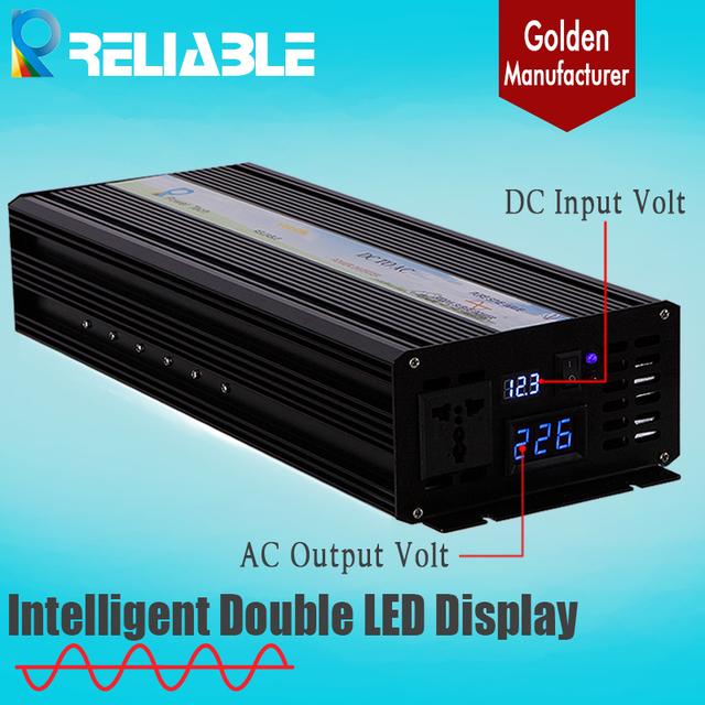 2500W 12/24/48VDC to 100/110/120/220/230/240VAC LED Display Pure Sine wave Solar Power Inverter Off Grid inverter car inverter