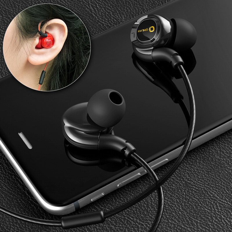 RUKZ Q05 Stereo Sport In Ear Earphone with Mic for Phone Bass Running Earpieces HiFi Earbuds Headset Speaker Volume Control teamyo portable in ear earphone stereo music handsfree headset with mic volume control for samsung galaxy s2 s3 s4 note3 n7100