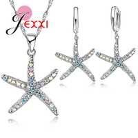 Mignon 925 en argent Sterling chaîne CZ pierre étoile de mer conception pendentif collier goutte boucle d'oreille Bijoux ensembles Bijoux