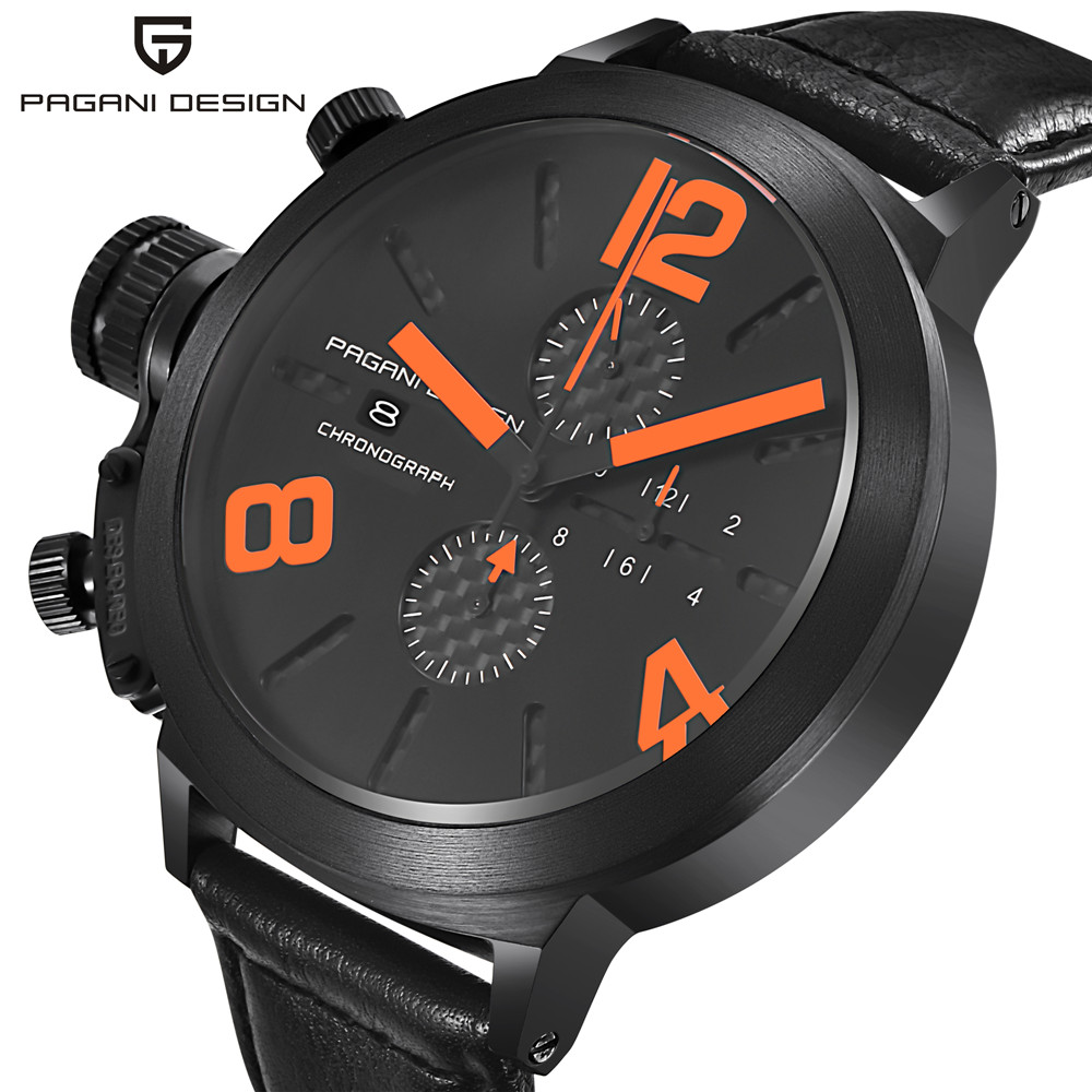 ФОТО top2017 new Pagani Design Genuine Leather Watch Men's Sports Waterproof Watch Racing Multifunctional Stopwatch (CX-2332)