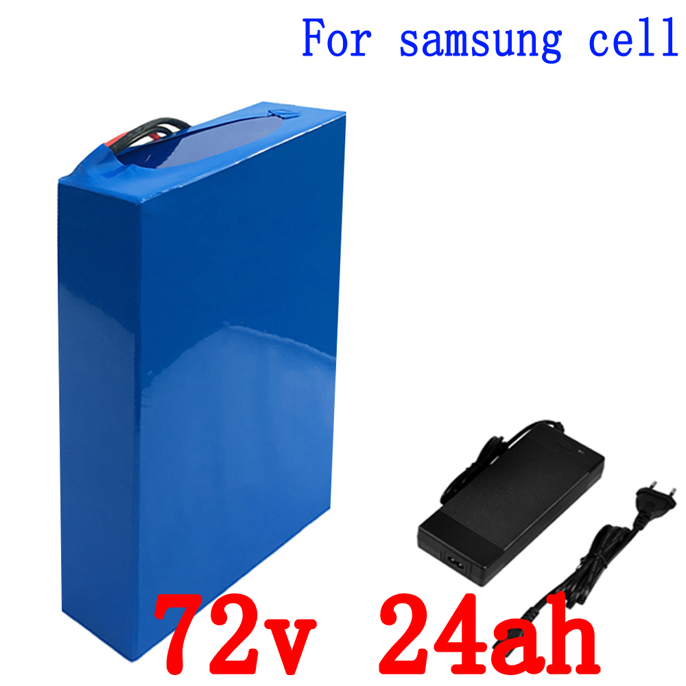 EU US No tax Lithium Battery 72V 24AH 2800W for Samsung 18650 Cell Built in 50A BMS with 84v 5A Charger Electric Bicycle Batte