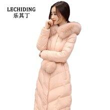 LECHIDING 2017 Women Warm Down Jacket Winter Silm Long Down Coat Adjustable Waist Solid Hood Daunenjacke S M L XL XXL