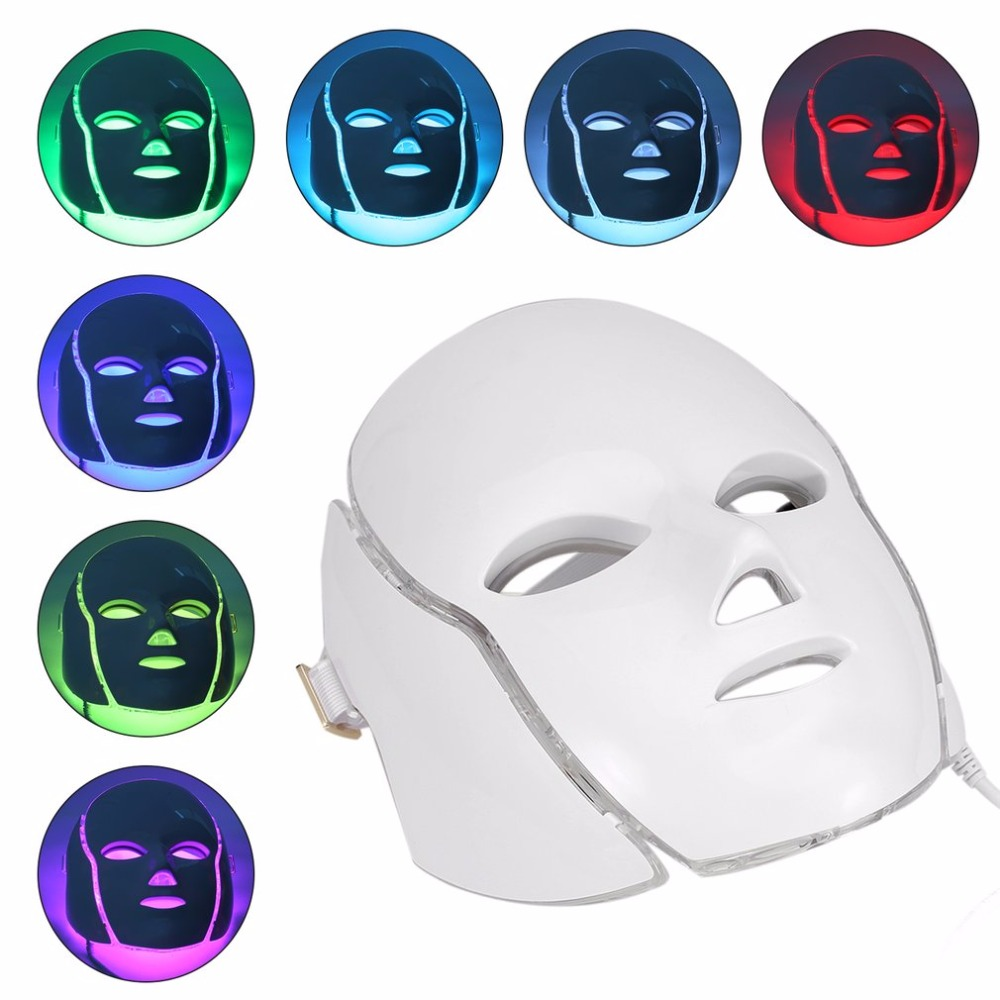 7 Colors LED Light Microcurrent Facial Mask Machine Photon Therapy Skin Rejuvenation Facial Neck Mask Whitening Electric Device7 Colors LED Light Microcurrent Facial Mask Machine Photon Therapy Skin Rejuvenation Facial Neck Mask Whitening Electric Device